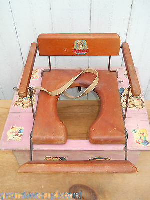 Vintage 30-50's Child Outhouse Booster Seat Hamilton Folding Wood Potty Chair