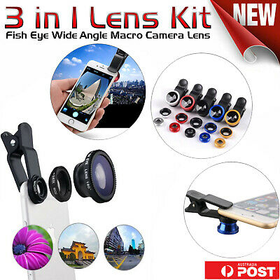 Universal 180° Fish Eye Wide Angle Macro Camera Lens Kit 3 in 1 For SmartPhones