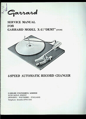 Rare Original Factory Garrard X-11  DEMI  Turntable Record Player Service Manual
