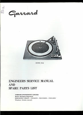 Rare Original Factory Garrard SL X Turntable Record Player Service Manual