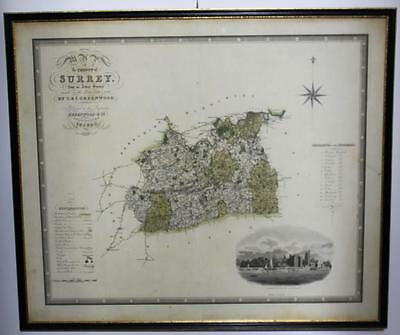 Antique Map of the County of Surrey 1822 & 1823, GREENWOOD & Co. 1829  [PL887]