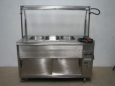 Commercial Stainless Steel Bain Marie - 3 Module / Bay / Tray with Hot Cupboard