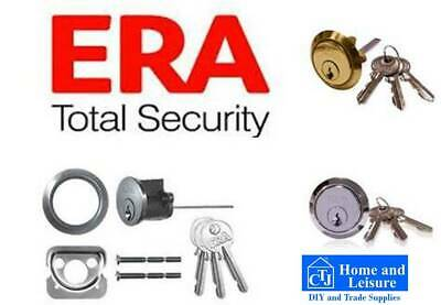 YALE & ERA brand Front Door Lock RIM CYLINDER Brass Chrome Satin XTRA KEY option