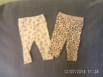 Baby Girls 0-3 Months - Two Pairs of Leggings - Floral & Animal Print