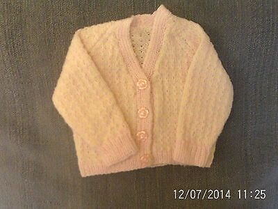 Baby Girls 0-3 Months - Pink & White Hand Knitted V-Neck Cardigan