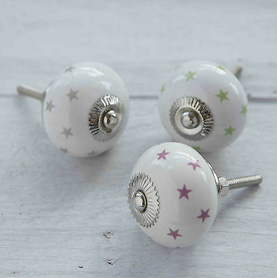 Colourful Ceramic Stars Pink Green Silver Cabinet Cupboard Drawer Door Knobs