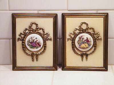 TWO 1900s Framed WATTEAU Signed PORCELAIN Cameos~ENGLAND~Court Couples~EX!!!