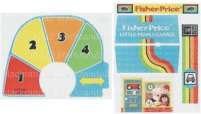 Vintage Fisher Price Little People 2504 Garage Replacement Lithos Stickers Decal