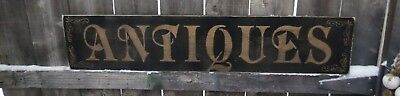 """Hand painted Wood ANTIQUES Sign PRIMITIVE CUSTOMIZE COLORS Rustic 3ft x 8"""""""