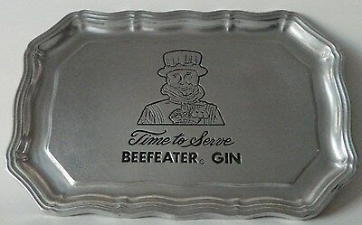 "Beefeater Pewter Gin Armetal Tray Rare ""Time to Serve Beefeater Gin"""