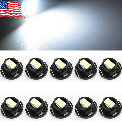 10X  White T4.7 LED 2-3528 SMD DC 12V Car Dash Board Cluster Gauges Lights Bulbs