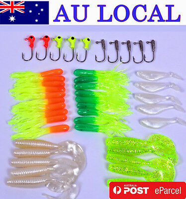 Fishing Lure Bait Tackle Soft Small Jig Head Box Set Lots Suite AU Local Postage