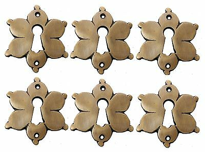 Solid Brass Star Shape Keyhole Escutcheons Set of 6 Jewelry Component