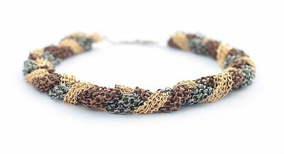 """Chunky Metal """"Chains"""" Necklace - Gold, Gun Metal & Brown Handmade in Thailand"""