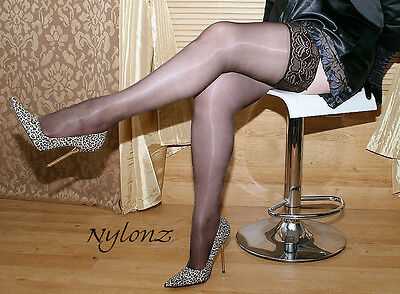 3 pairs Black Luxury Gloss Shine LaceTop Hold Ups Stockings M, L, XL, XXL