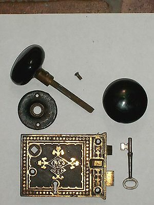 Antique Russell and Erwin Rim Lock W/ Knobs, Rosette, and Key
