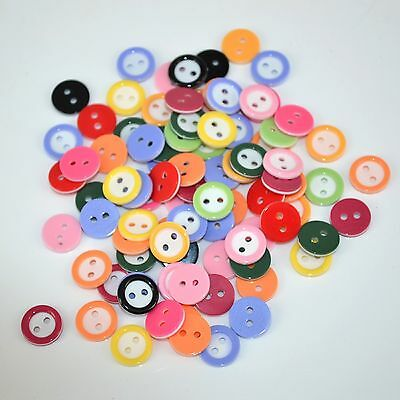 lot 50 boutons 11 mm multicolor melange 2 trou couture mercerie scrapbooking