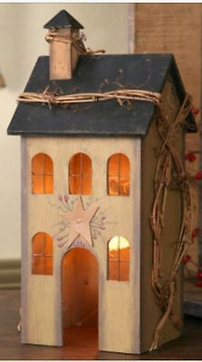NEW Primitive Country SALTBOX HOUSE TAN Electric Lamp Light Windows Grapevine