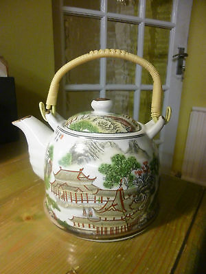 Chinese/japanese Ceramic Teapot Pagoda Vintage 1970's Very Cool
