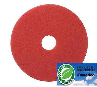 """16"""" Red Floor Scrubbing Buffer Pads Box of 5, Daily Cleaning and Spray Buffing"""