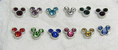 Mickey Mouse Ears Birthstones Floating Charm for your Glass Memory Locket