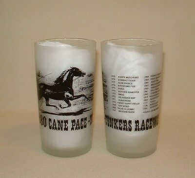 Set of 4 Vintage Yonkers Cane Pace Horse Racing Glasses Sulky Cart Race, Libbey
