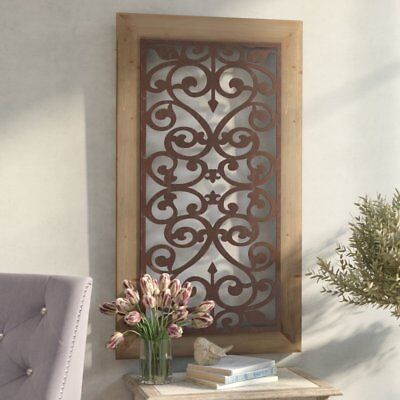 Large Metal Wood Wall Panel Antique Vintage Rustic Chic Industrial Unique Decor