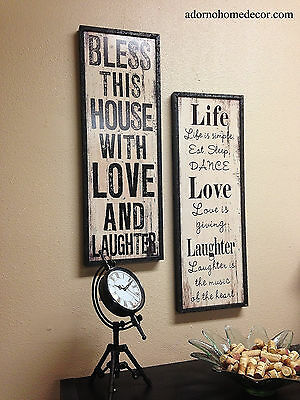 Distressed Wood Sign Wall Decor Antique Vintage Shabby Plaque Chic House Life