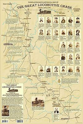 Great Locomotive Chase. The General. Georgia Railroad. Civil War Historical Map
