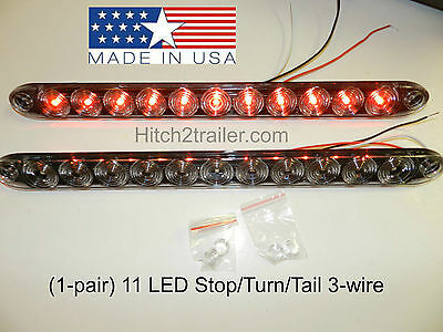 """(2) Clear / Red Truck Trailer Stop Tail Turn Light 11 LED 15"""" low profile USA"""