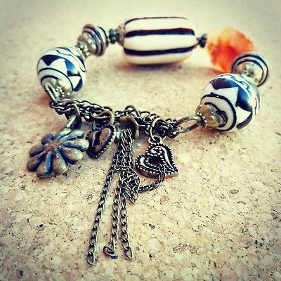 Charm-Style Bracelet with Black, White & Cream Beads Fair Trade from Indonesia