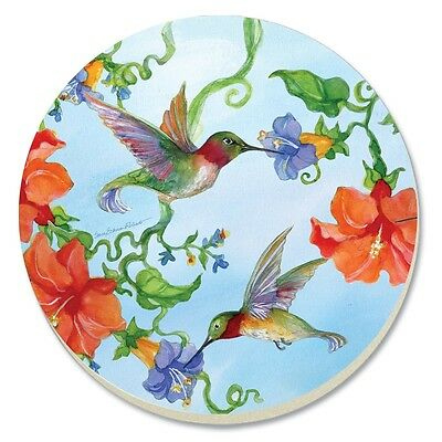 Counter Art Absorbent Stoneware Coasters, Set of 4, Hummingbirds w/Orange, 87145