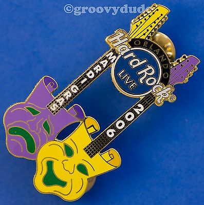 2006 Hard Rock Cafe Orlando Live Guitar Pin Mardi Gras Masks New HRC Le 300 Pins