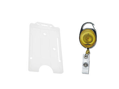 ID Card Holder Clear Vertical AND Premier YoYo Retractable ID Card Key Reel