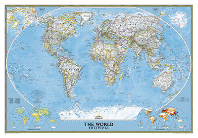 National Geographic - World Classic Map Laminated Poster Laminated Poster, 44x30