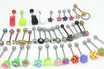 Lot100pcs Body Jewelry 14g~1.6mm Tongue Ring Bar Barbells Mix styles