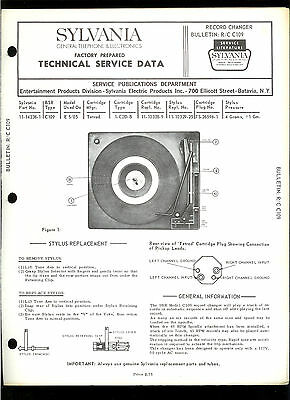 Rare Original Factory Sylvania BSR C109 Turntable Record Player Service Manual