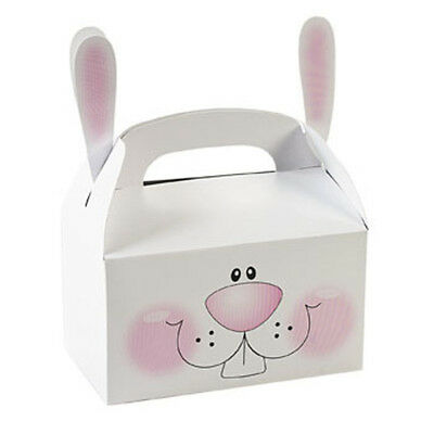 6 Easter Bunnies Bunny Treat Boxes With Ears Basket Filler Egg Hunt Prize Tote