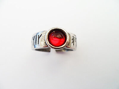 Viking Pewter Rune ring with red gem.  Viking Celtic Manx .Norse