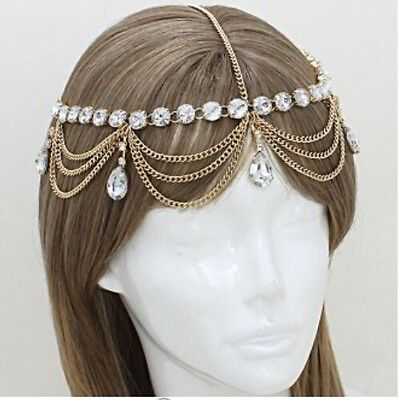 Bridal Pageant Formal Hair Head Crystal Metal Chain Jewelry Gold Headpiece Drape