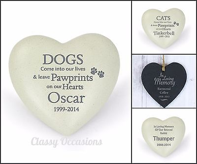 Personalised Pet Remembrance Memorial Heart Ornament Dog Cat Missed Pet Garden