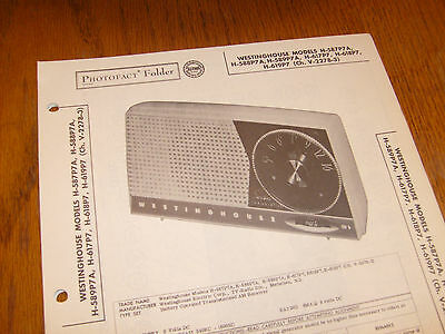 Westinghouse model H-587P7A,H-588P7,H-589P7A Photofact Folder,transistor radio