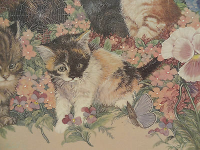 Gorgeous Lithograph  Enhanced By Artist And Signed - Cats Cats Cats