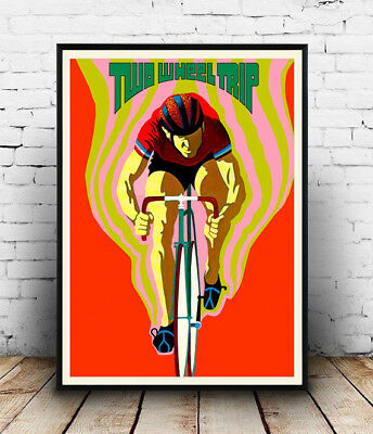 Two wheel trip . Vintage Cycling poster reproduction.