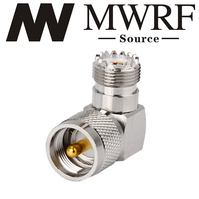 UHF SO239 Female to PL259 Male RIGHT Angle Adapter; US based; Fast shipping