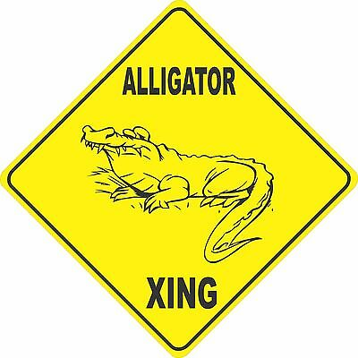 "12""x12"" plastic funny alligator sign xing Crossings animal wild"