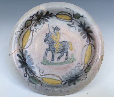 Antique Rare Dutch Delft Dish Man on Horse 17TH C. Marked Excavated