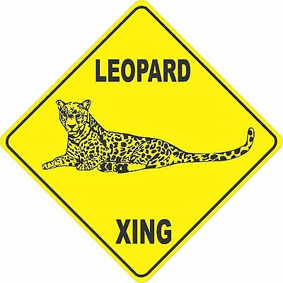 "12""x12"" plastic funny Leopard sign xing Crossings animal wild"