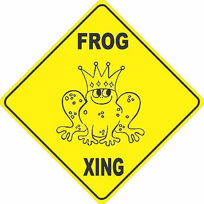 "12""x12"" plastic funny Frog sign xing Crossings animal"