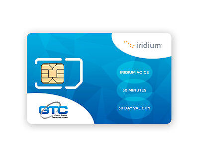 Prepaid Iridium Satellite SIM Card with 50 Minutes and 30 Days Validity